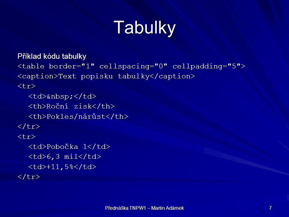 Přednáška TNPW1 – Martin Adámek 7 Tabulky Příklad kódu tabulky Text popisku tabulky Text popisku tabulky <tr> Roční zisk Roční zisk Pokles/nárůst Pokl