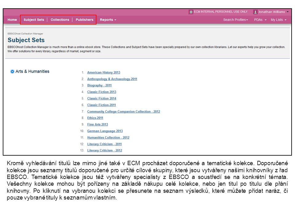 Kromě vyhledávání titulů lze mimo jiné také v ECM procházet doporučené a tematické kolekce.