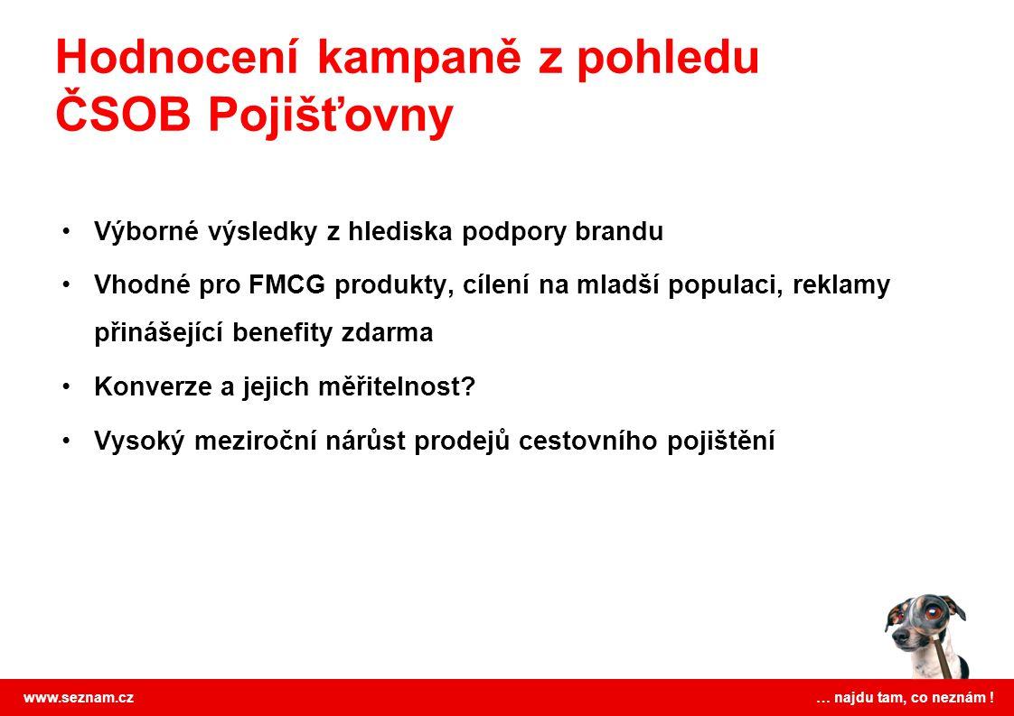 www.seznam.cz … najdu tam, co neznám ! Výborné výsledky z hlediska podpory brandu Vhodné pro FMCG produkty, cílení na mladší populaci, reklamy přináše