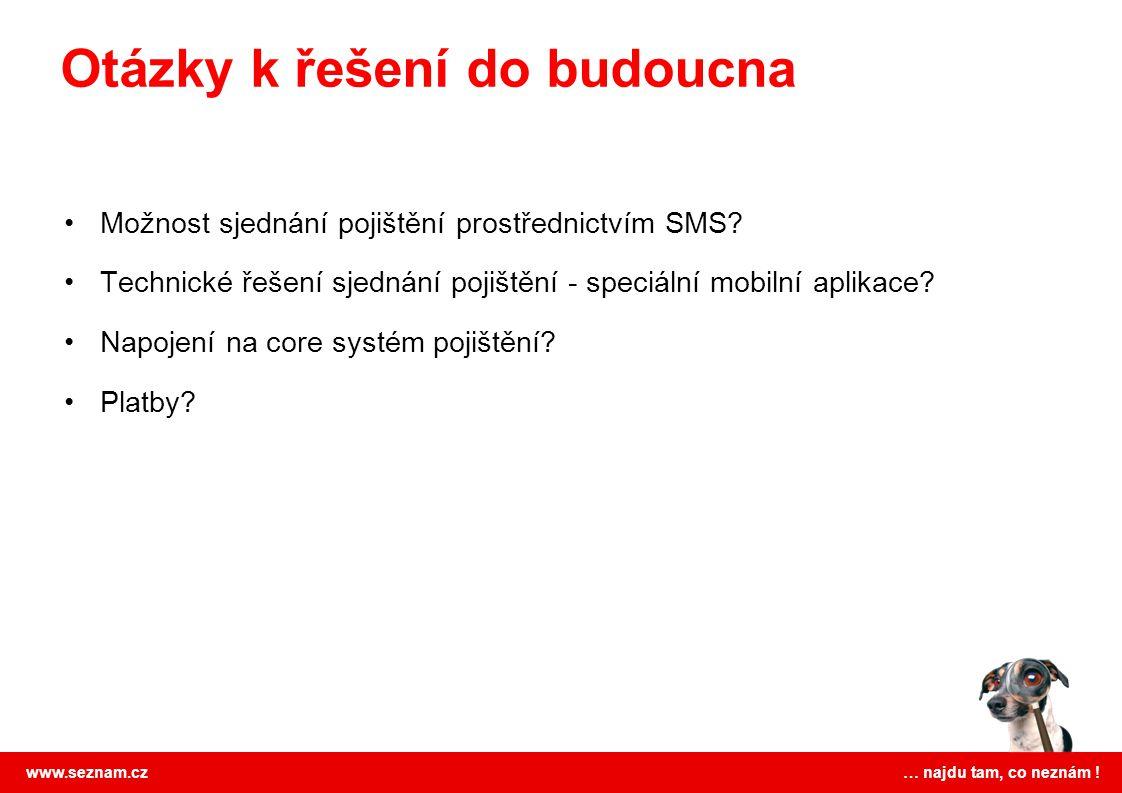 www.seznam.cz … najdu tam, co neznám ! Možnost sjednání pojištění prostřednictvím SMS? Technické řešení sjednání pojištění - speciální mobilní aplikac