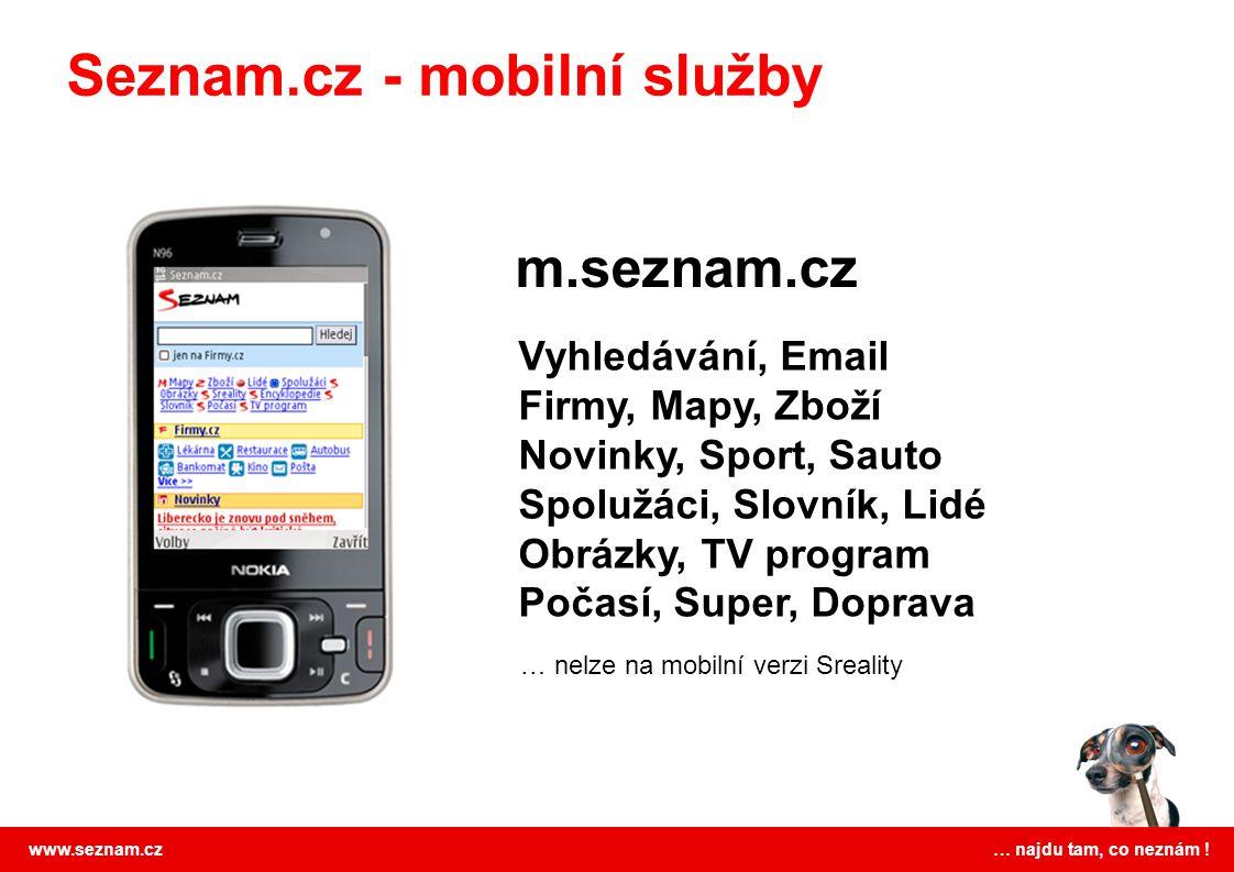 www.seznam.cz … najdu tam, co neznám ! Seznam.cz - mobilní služby Vyhledávání, Email Firmy, Mapy, Zboží Novinky, Sport, Sauto Spolužáci, Slovník, Lidé