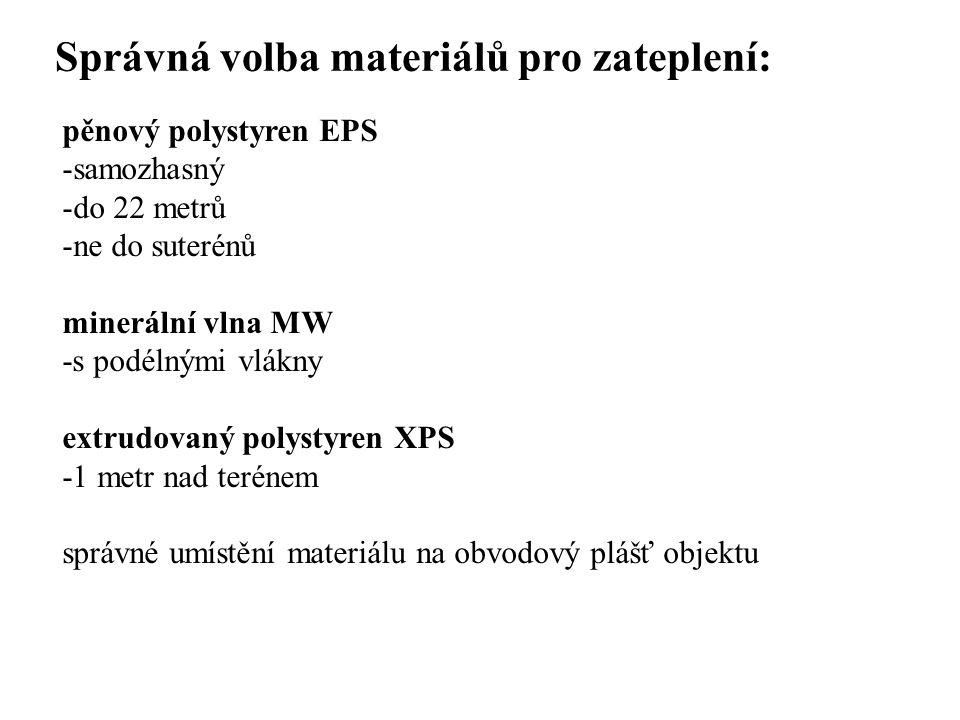 SEZNAM PŘÍLOH Správná volba materiálů pro zateplení: pěnový polystyren EPS -samozhasný -do 22 metrů -ne do suterénů minerální vlna MW -s podélnými vlá