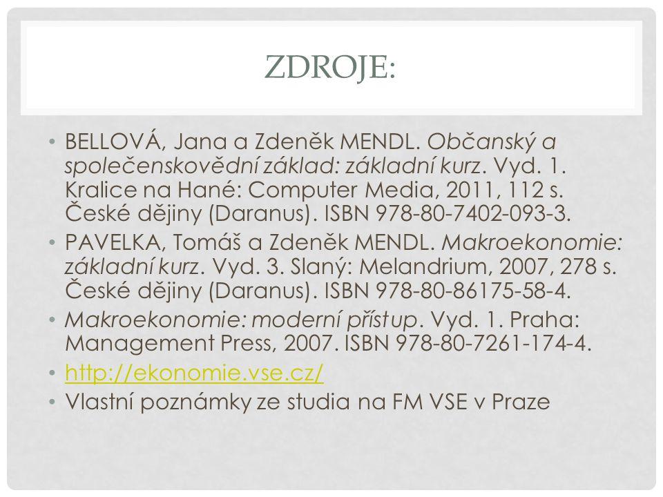 ZDROJE: BELLOVÁ, Jana a Zdeněk MENDL. Občanský a společenskovědní základ: základní kurz.