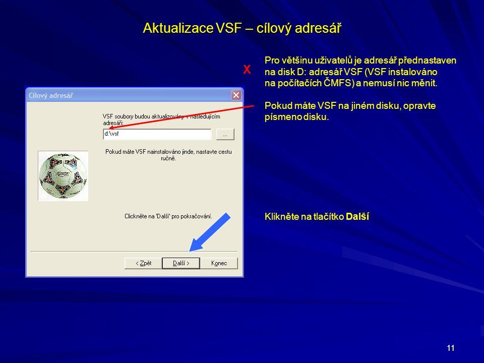 11 Aktualizace VSF – cílový adresář Pro většinu uživatelů je adresář přednastaven na disk D: adresář VSF (VSF instalováno na počítačích ČMFS) a nemusí