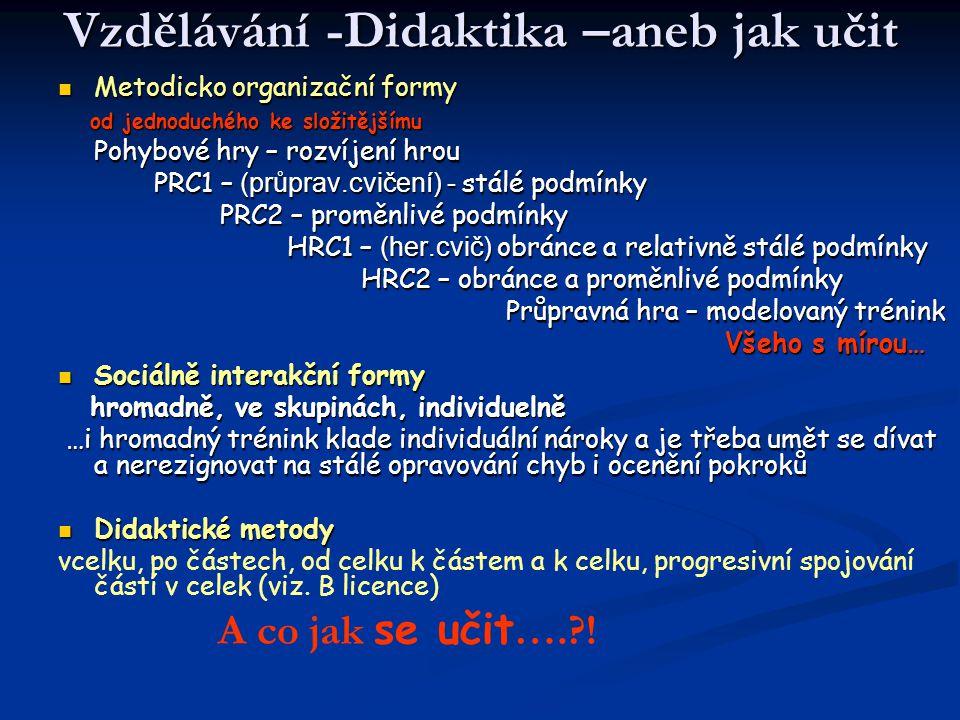 Vzdělávání -Didaktika –aneb jak učit Metodicko organizační formy Metodicko organizační formy od jednoduchého ke složitějšímu od jednoduchého ke složit