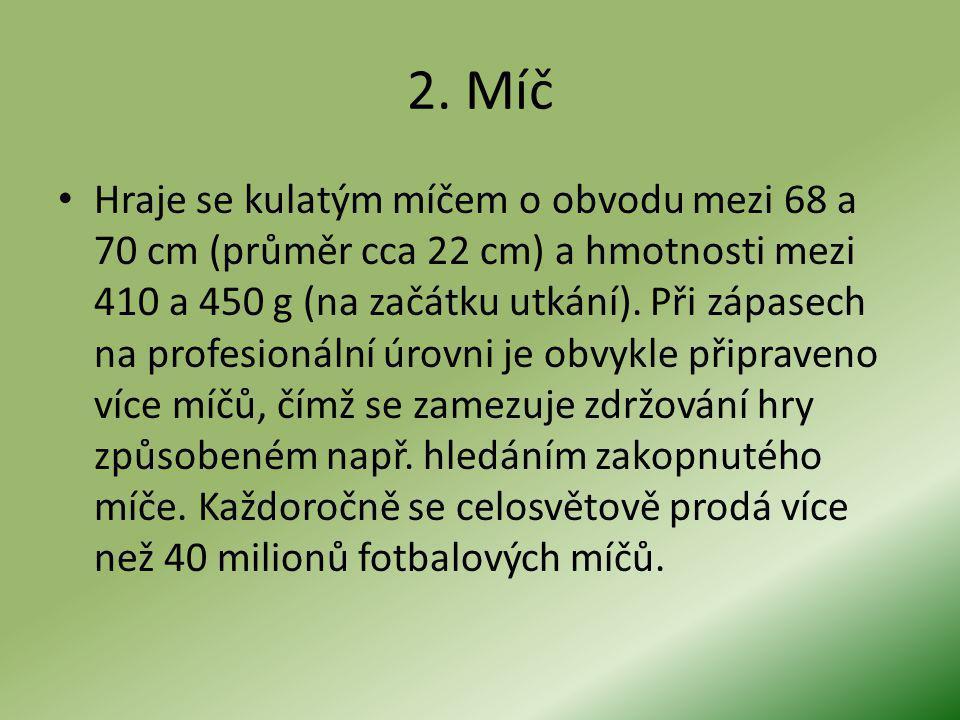 2. Míč Hraje se kulatým míčem o obvodu mezi 68 a 70 cm (průměr cca 22 cm) a hmotnosti mezi 410 a 450 g (na začátku utkání). Při zápasech na profesioná