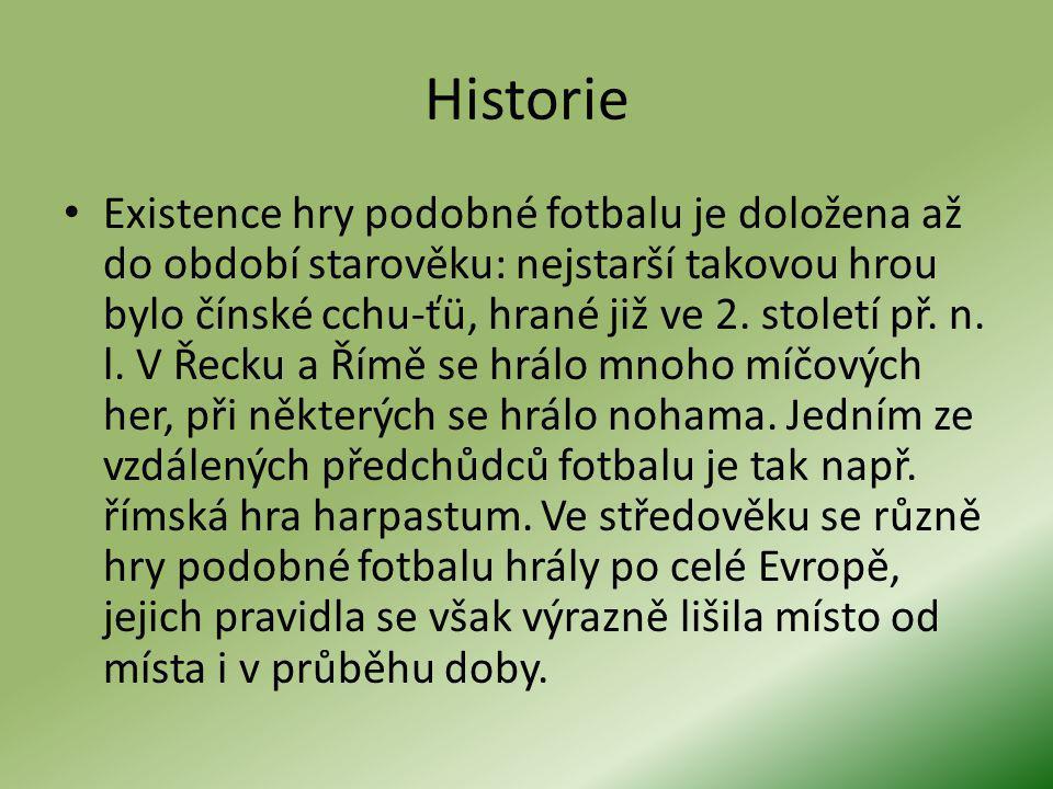 Historie Existence hry podobné fotbalu je doložena až do období starověku: nejstarší takovou hrou bylo čínské cchu-ťü, hrané již ve 2.