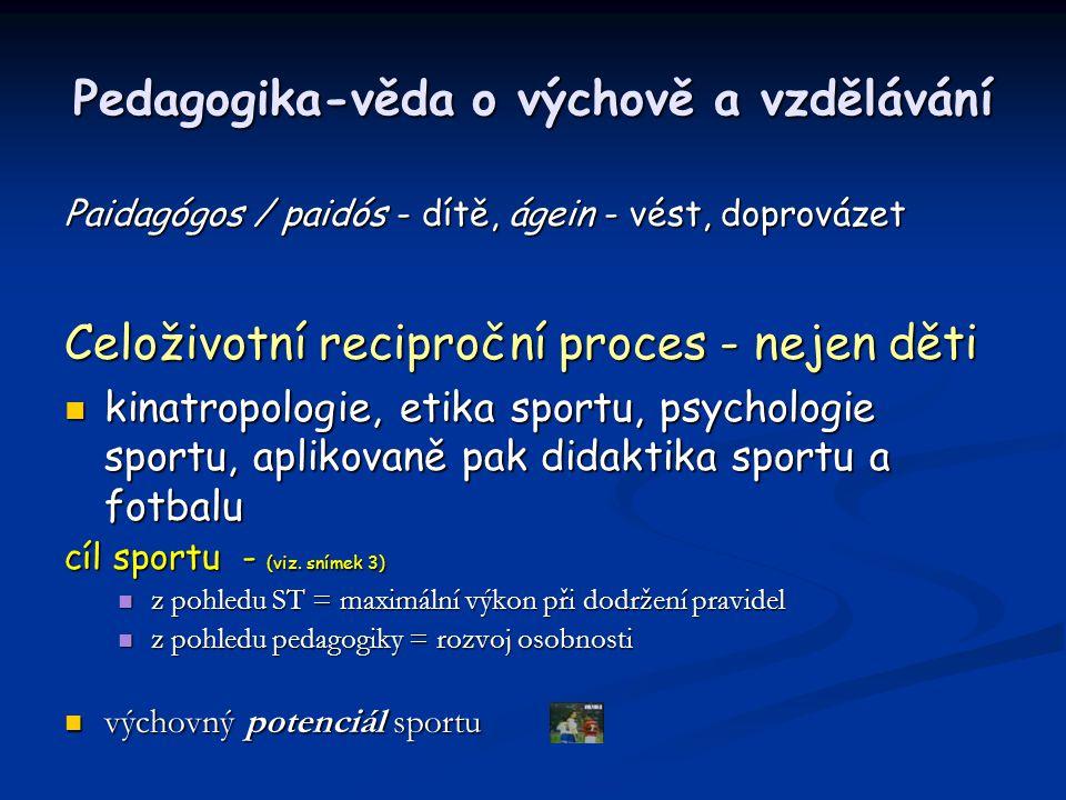 Pedagogika-věda o výchově a vzdělávání Paidagógos / paidós - dítě, ágein - vést, doprovázet Celoživotní reciproční proces - nejen děti kinatropologie,