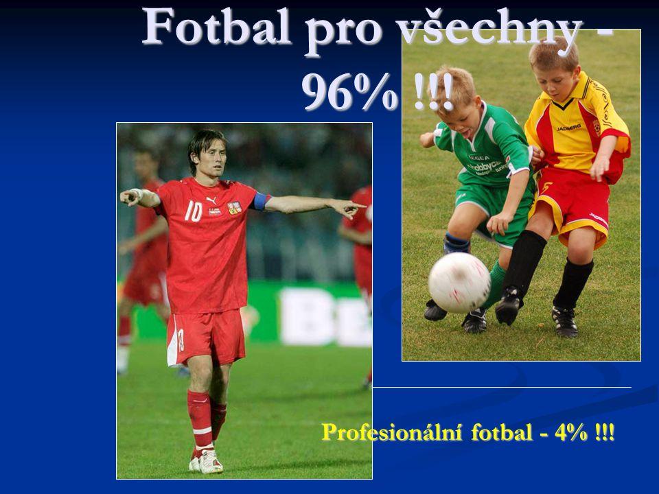 Profesionální fotbal - 4% !!! Fotbal pro všechny - 96% !!!
