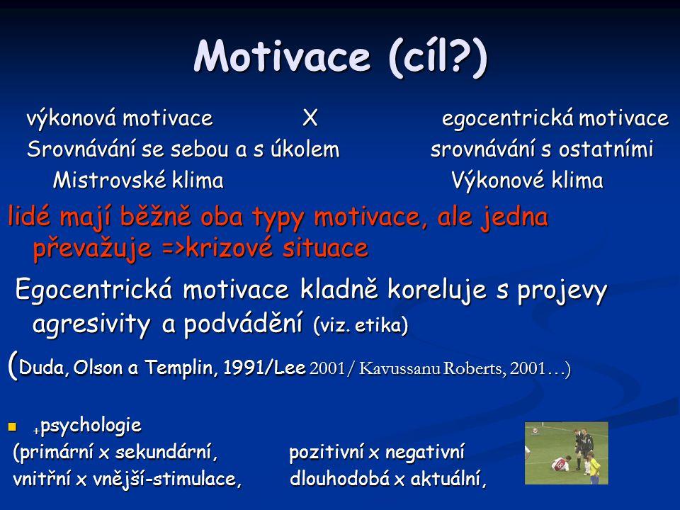 Motivace (cíl?) výkonová motivace X egocentrická motivace výkonová motivace X egocentrická motivace Srovnávání se sebou a s úkolem srovnávání s ostatn