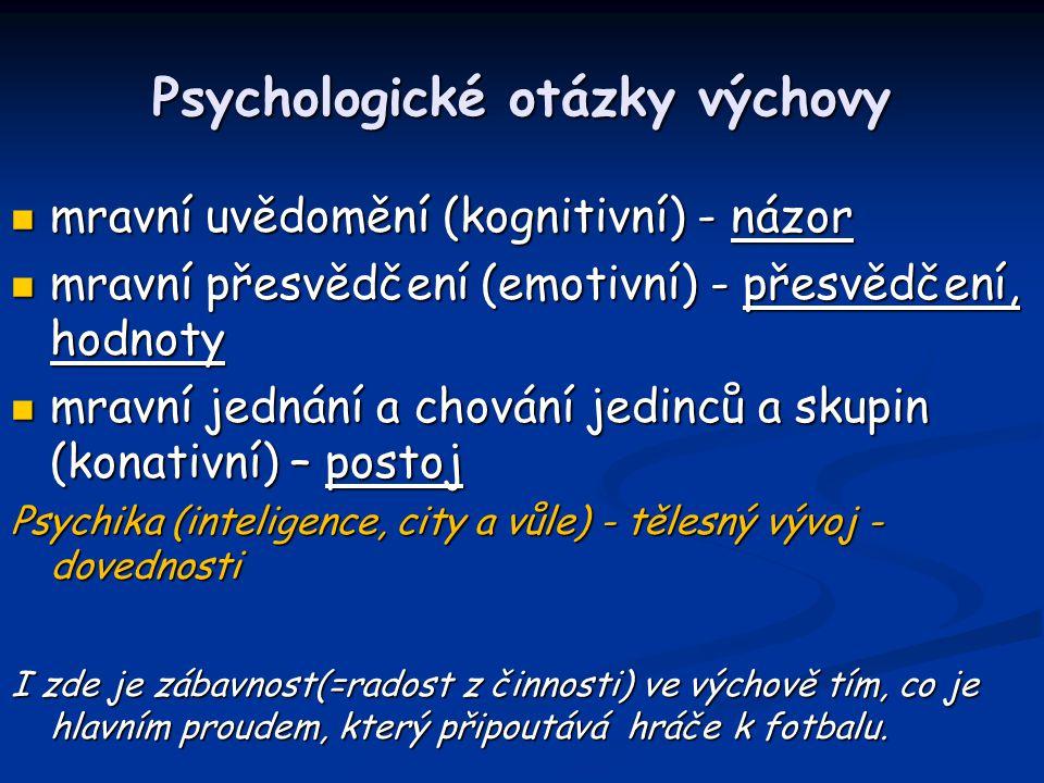 Psychologické otázky výchovy mravní uvědomění (kognitivní) - názor mravní uvědomění (kognitivní) - názor mravní přesvědčení (emotivní) - přesvědčení,