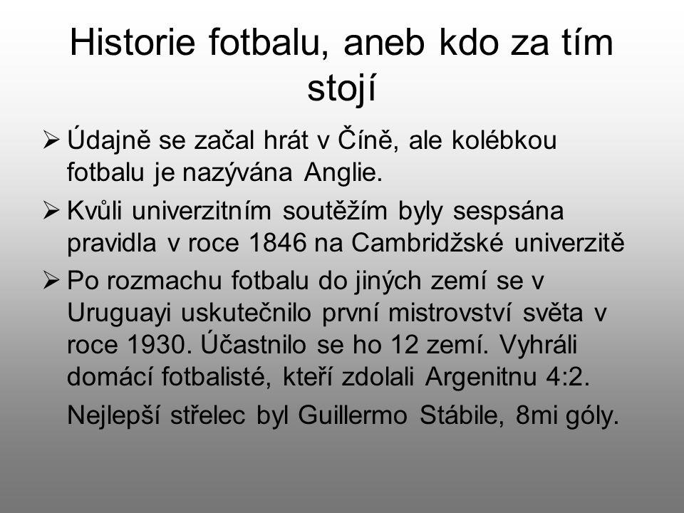Historie fotbalu, aneb kdo za tím stojí  Údajně se začal hrát v Číně, ale kolébkou fotbalu je nazývána Anglie.