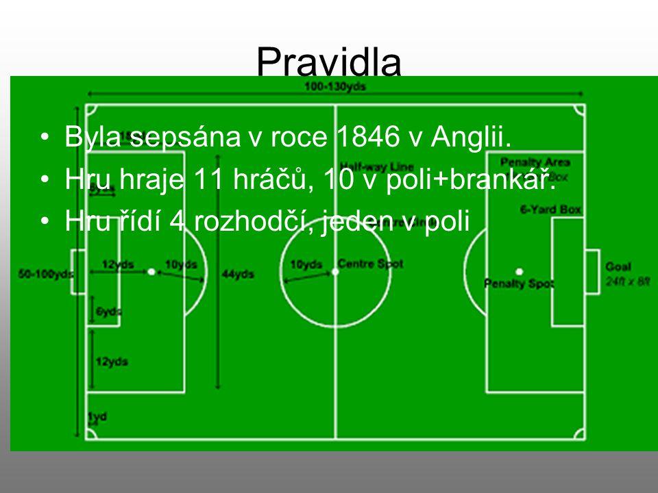 Pravidla Byla sepsána v roce 1846 v Anglii.Hru hraje 11 hráčů, 10 v poli+brankář.