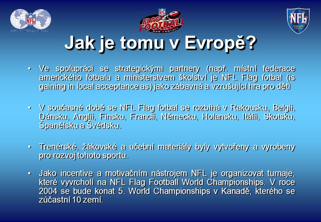 Zde je pár otázek, které nám pomůžou vyřešit další kroky pro Flag fotbalový program pro školy v České republice: jaké je postavení vašeho Flag-fotbalového programu, např.