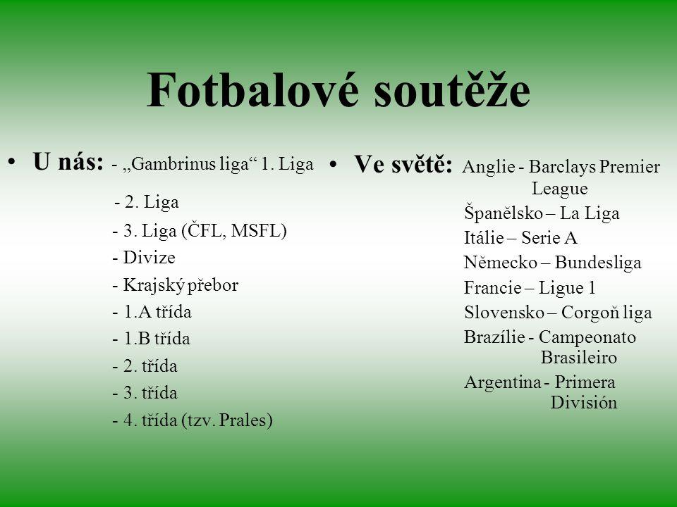 """Fotbalové soutěže U nás: - """"Gambrinus liga"""" 1. Liga - 2. Liga - 3. Liga (ČFL, MSFL) - Divize - Krajský přebor - 1.A třída - 1.B třída - 2. třída - 3."""