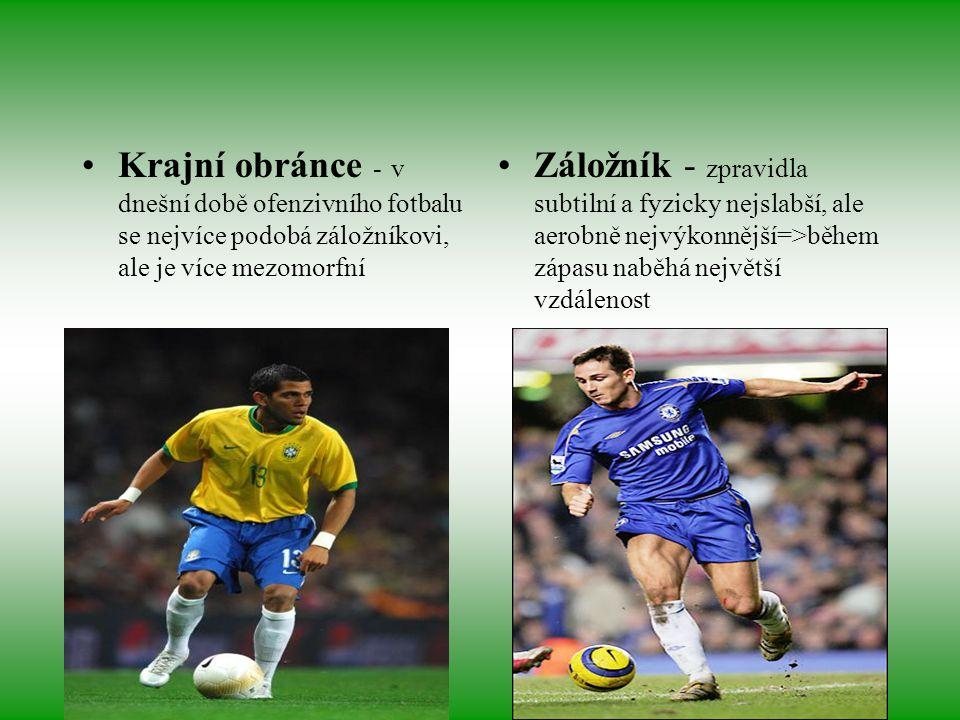 Krajní obránce - v dnešní době ofenzivního fotbalu se nejvíce podobá záložníkovi, ale je více mezomorfní Záložník - zpravidla subtilní a fyzicky nejsl