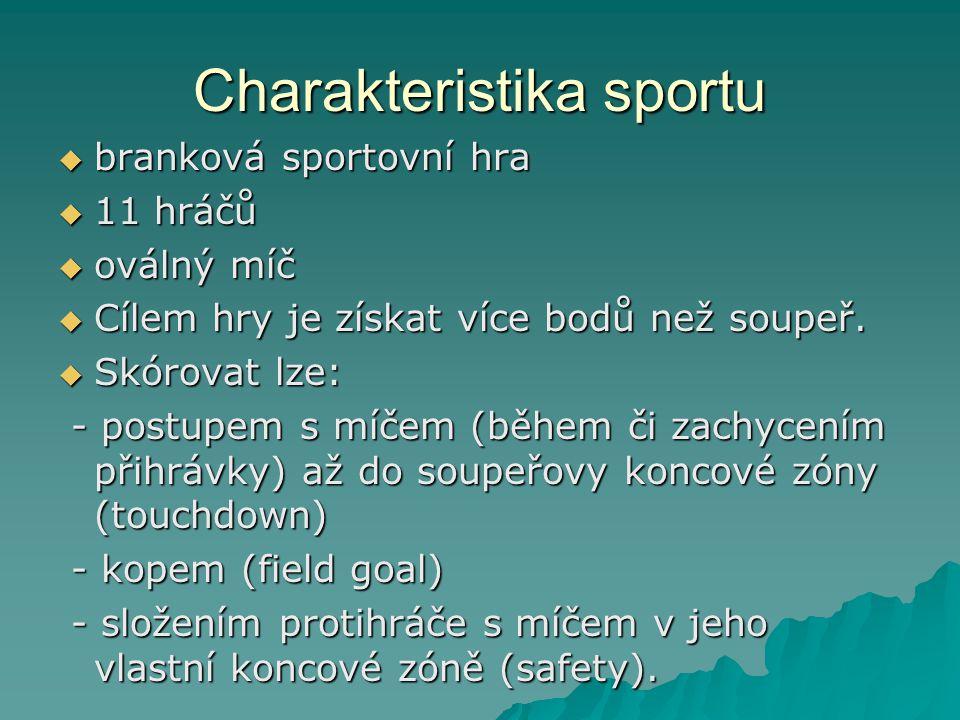 Charakteristika sportu  branková sportovní hra  11 hráčů  oválný míč  Cílem hry je získat více bodů než soupeř.
