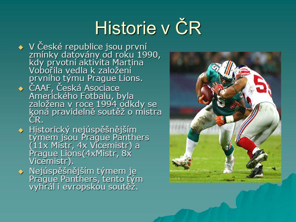 Historie v ČR  V České republice jsou první zmínky datovány od roku 1990, kdy prvotní aktivita Martina Vobořila vedla k založení prvního týmu Prague Lions.