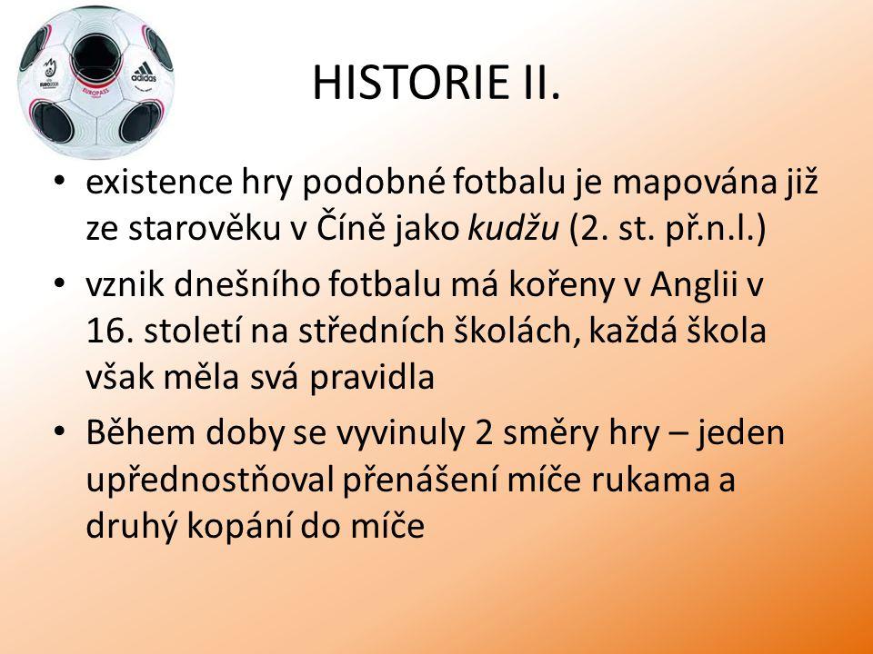 HISTORIE II. existence hry podobné fotbalu je mapována již ze starověku v Číně jako kudžu (2. st. př.n.l.) vznik dnešního fotbalu má kořeny v Anglii v