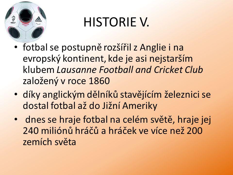HISTORIE V. fotbal se postupně rozšířil z Anglie i na evropský kontinent, kde je asi nejstarším klubem Lausanne Football and Cricket Club založený v r