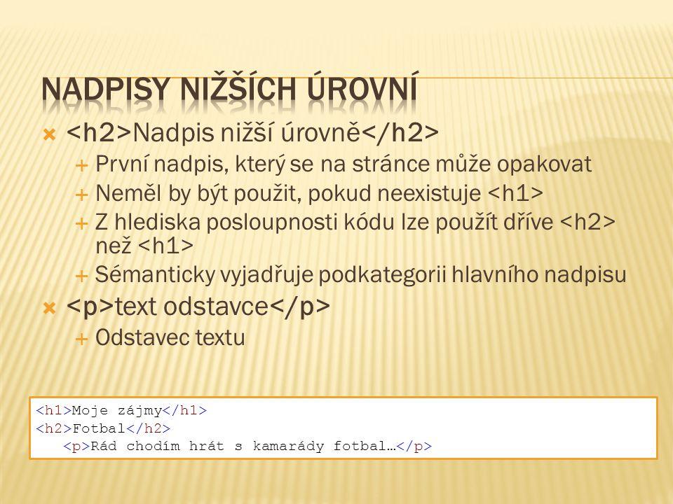  Nadpis nižší úrovně  První nadpis, který se na stránce může opakovat  Neměl by být použit, pokud neexistuje  Z hlediska posloupnosti kódu lze pou