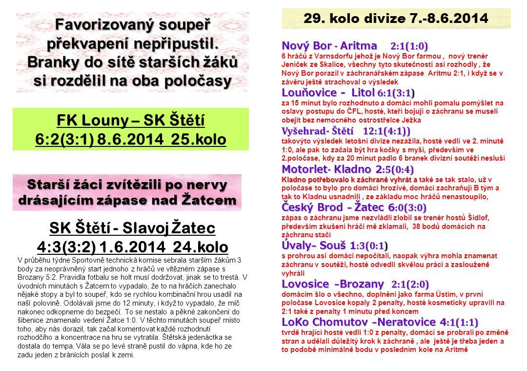 Starší žáci zvítězili po nervy drásajícím zápase nad Žatcem SK Št ě tí - Slavoj Ž atec 4:3(3:2) 1.6.2014 24.kolo V průběhu týdne Sportovně technická k