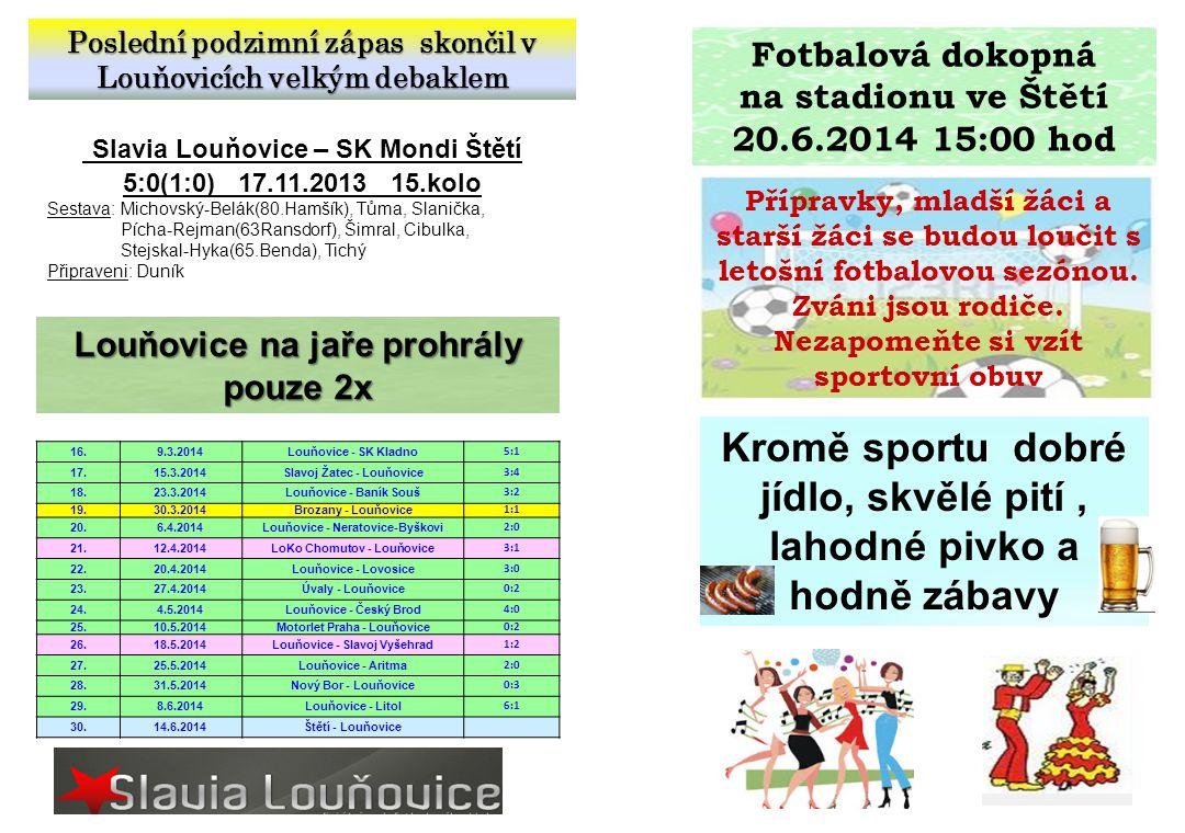 Poslední podzimní zápas skončil v Louňovicích velkým debaklem Slavia Louňovice – SK Mondi Štětí 5:0(1:0) 17.11.2013 15.kolo Sestava: Michovský-Belák(8
