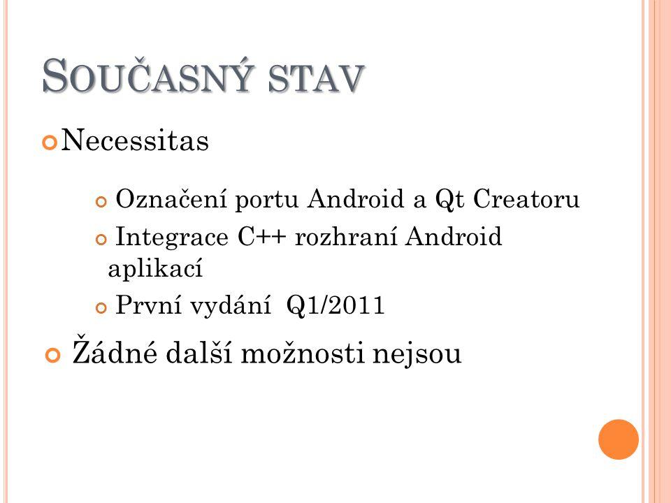 S OUČASNÝ STAV Necessitas Označení portu Android a Qt Creatoru Integrace C++ rozhraní Android aplikací První vydání Q1/2011 Žádné další možnosti nejso