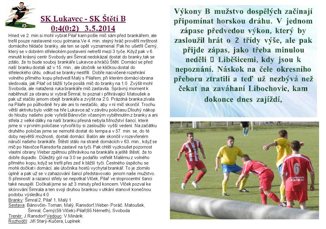 SK Lukavec - SK Št ě tí B 0:4(0:2) 3.5.2014 Hned ve 2.