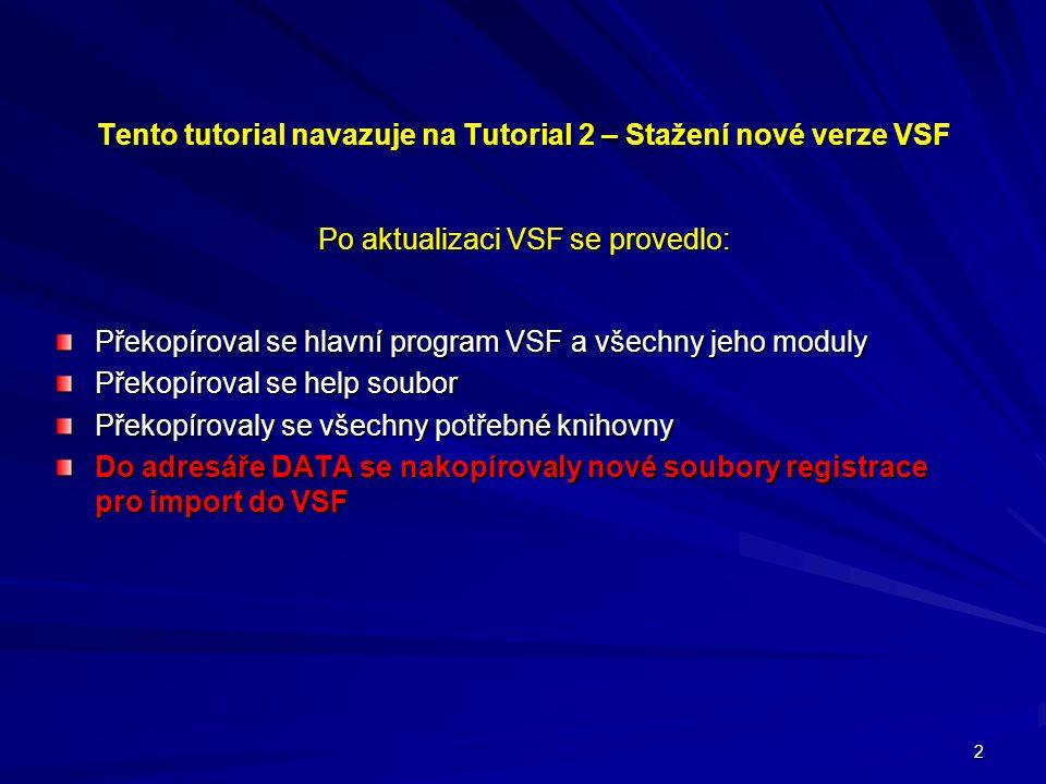 2 Tento tutorial navazuje na Tutorial 2 – Stažení nové verze VSF Po aktualizaci VSF se provedlo: Překopíroval se hlavní program VSF a všechny jeho moduly Překopíroval se help soubor Překopírovaly se všechny potřebné knihovny Do adresáře DATA se nakopírovaly nové soubory registrace pro import do VSF