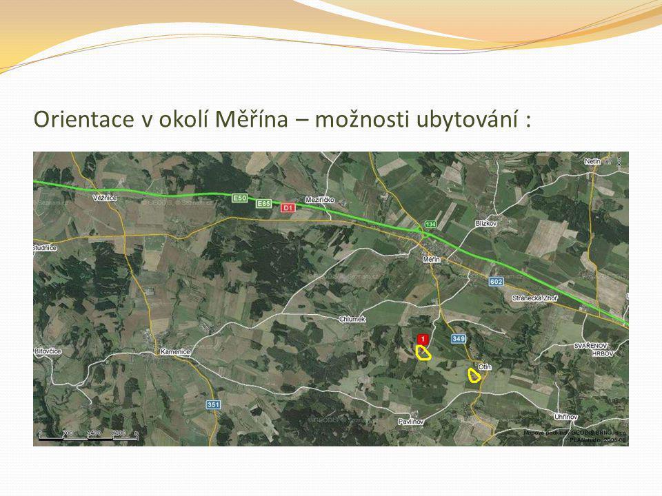 Orientace v okolí Měřína – možnosti ubytování :