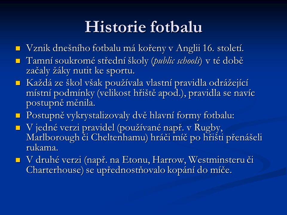 Historie fotbalu Vznik dnešního fotbalu má kořeny v Anglii 16.