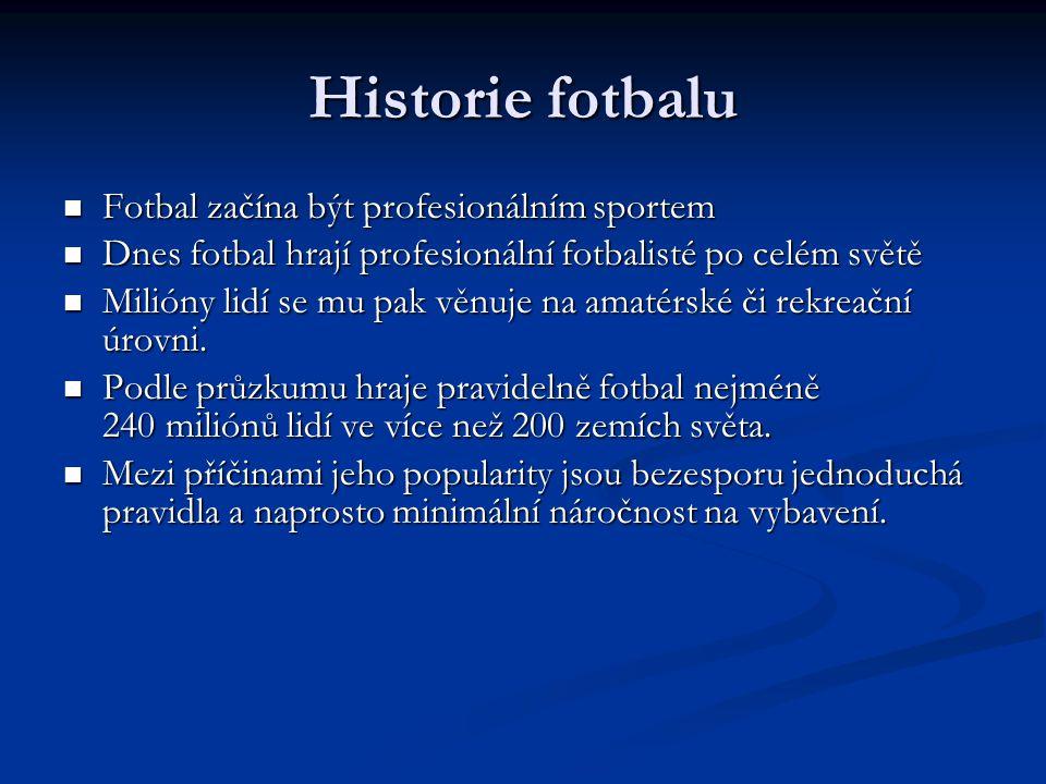 Historie fotbalu Fotbal začína být profesionálním sportem Fotbal začína být profesionálním sportem Dnes fotbal hrají profesionální fotbalisté po celém světě Dnes fotbal hrají profesionální fotbalisté po celém světě Milióny lidí se mu pak věnuje na amatérské či rekreační úrovni.
