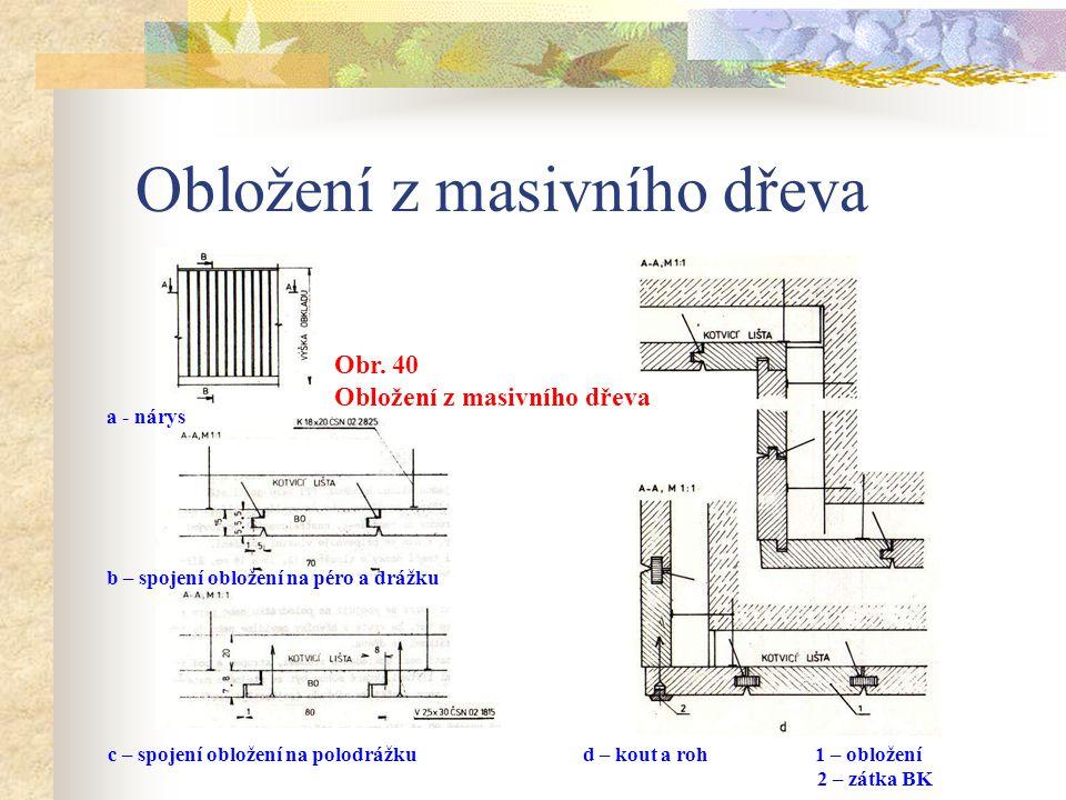 Obložení z masivního dřeva Spáry a nepřesnosti mezi obkladem a stěnami, stropem a podlahou zakryjeme krycími lištami, které mohou být ze stejného mate