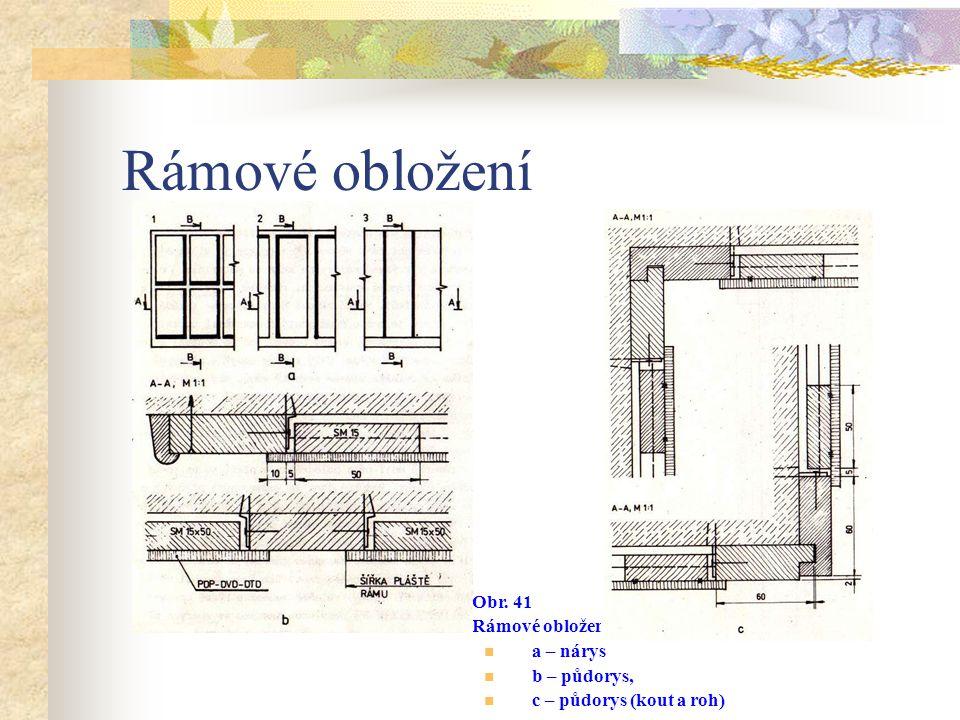 Rámové obložení Podobně jsou ve vodorovných příčkách a vlysech nosného rámu vytvořeny drážky, do nichž se oplášťované rámečky vkládají. Montáž je jedn