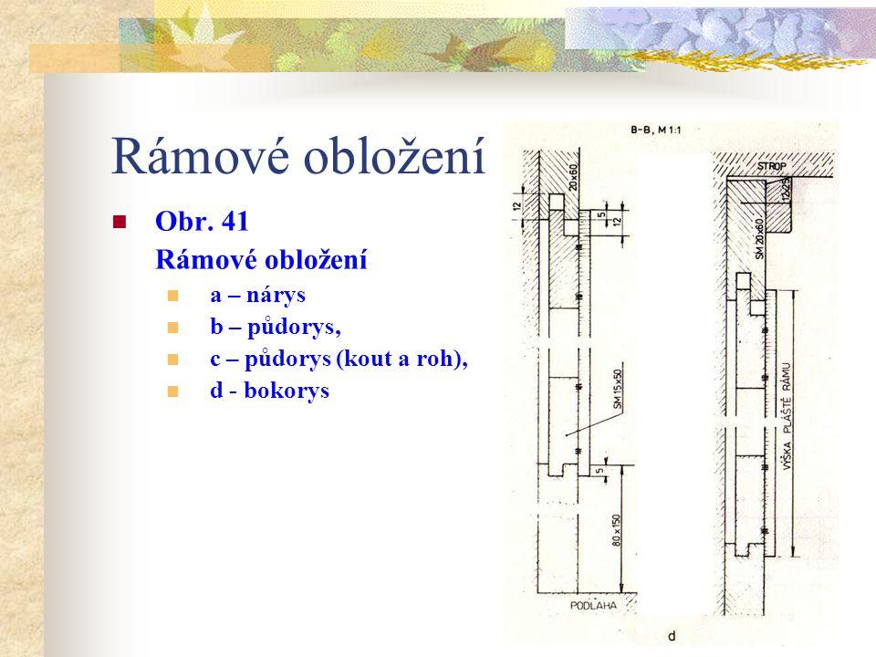 Rámové obložení Obr. 41 Rámové obložení a – nárys b – půdorys, c – půdorys (kout a roh)