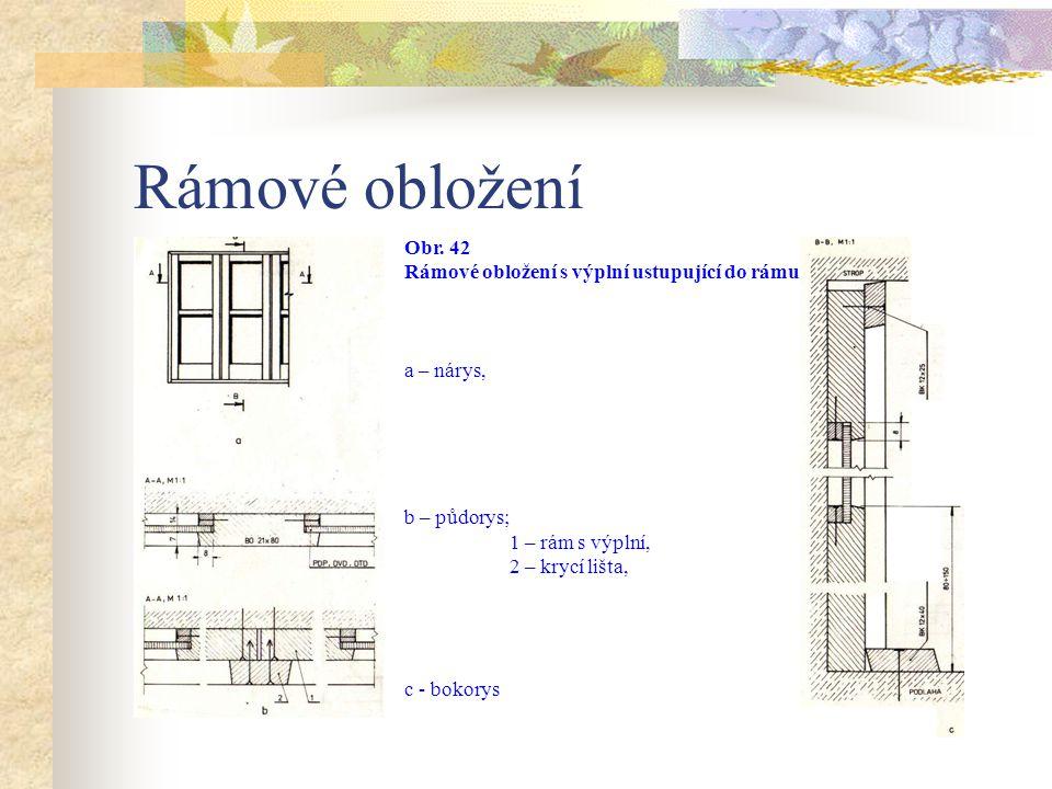 Další používanou konstrukcí je rámové obložení s výplní ustupující do rámu. Obložení se skládá z rámů, výplně, lišt, krycích lišt a kotvení. Rámy se p