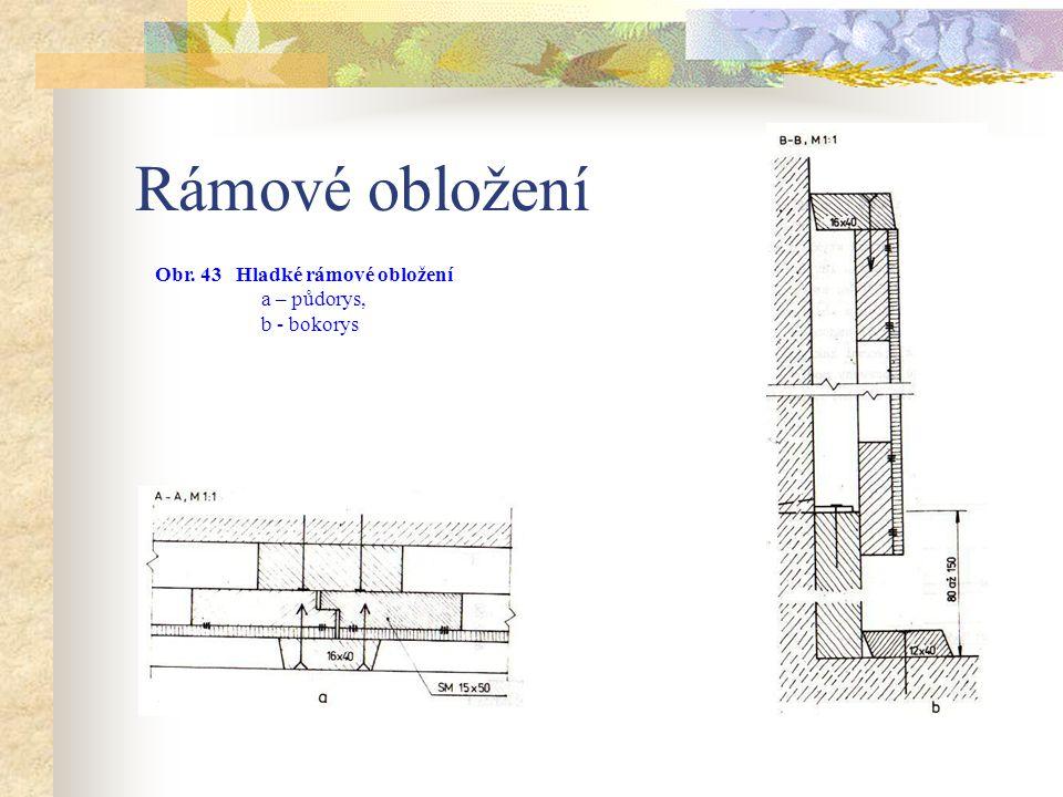 Rámové obložení Nejjednodušší konstrukcí je rámové obložení hladké – oplášťované. Skládá se z kotvících lišt, jednostranně oplášťovaných rámem, z kryc
