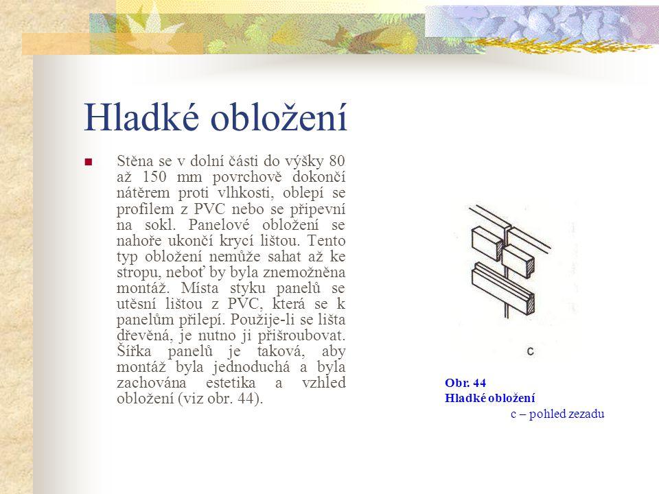Hladké obložení Obr. 44 Hladké obložení a – půdorys, b – bokorys, c – pohled zezadu