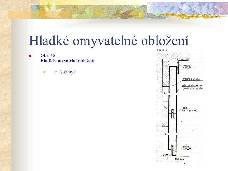 Hladké omyvatelné obložení Obr. 45 Hladké omyvatelné obložení a – nárys a půdorys, b – půdorys (kout a roh),
