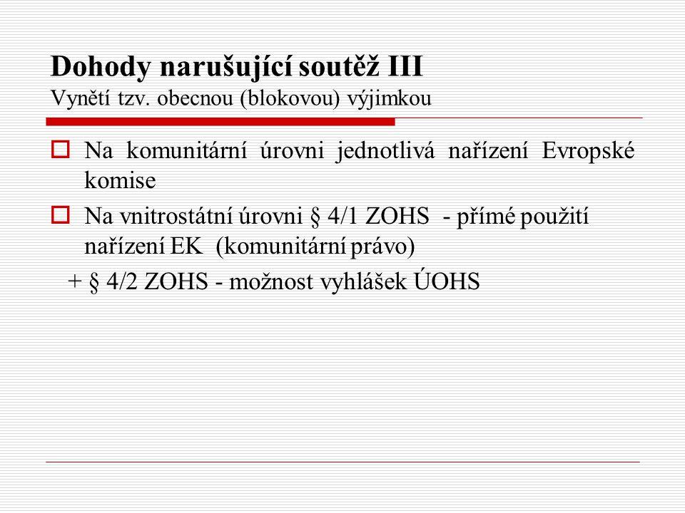Dohody narušující soutěž IV Vynětí podle obsahu (tzv.