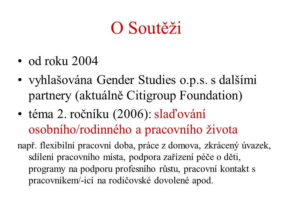 O Soutěži od roku 2004 vyhlašována Gender Studies o.p.s. s dalšími partnery (aktuálně Citigroup Foundation) téma 2. ročníku (2006): slaďování osobního
