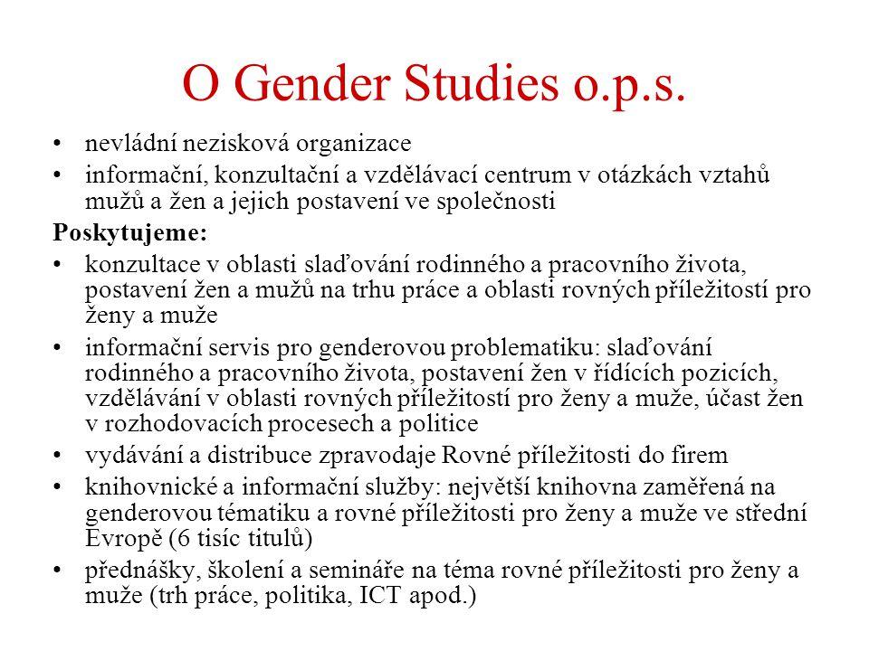 O Gender Studies o.p.s. nevládní nezisková organizace informační, konzultační a vzdělávací centrum v otázkách vztahů mužů a žen a jejich postavení ve