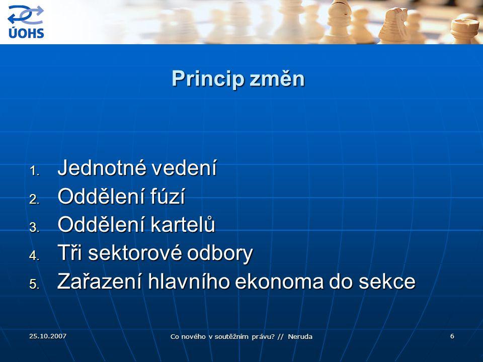 25.10.2007 Co nového v soutěžním právu.// Neruda 6 Princip změn 1.