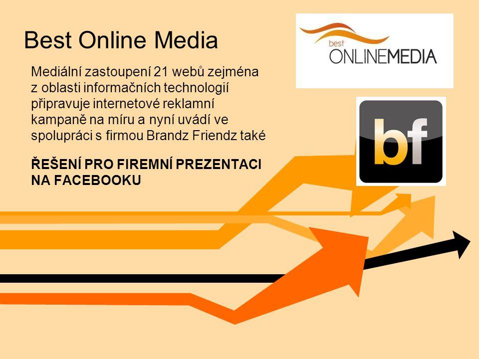 Best Online Media Mediální zastoupení 21 webů zejména z oblasti informačních technologií připravuje internetové reklamní kampaně na míru a nyní uvádí ve spolupráci s firmou Brandz Friendz také ŘEŠENÍ PRO FIREMNÍ PREZENTACI NA FACEBOOKU