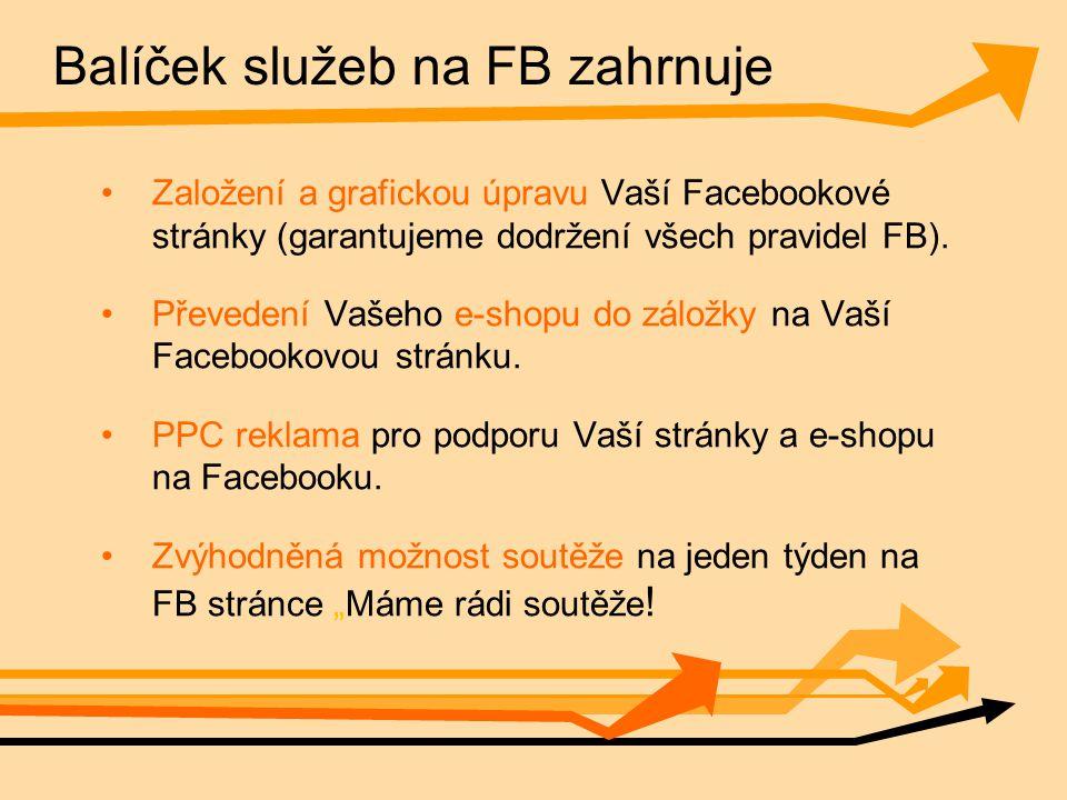 Balíček služeb na FB zahrnuje Založení a grafickou úpravu Vaší Facebookové stránky (garantujeme dodržení všech pravidel FB).
