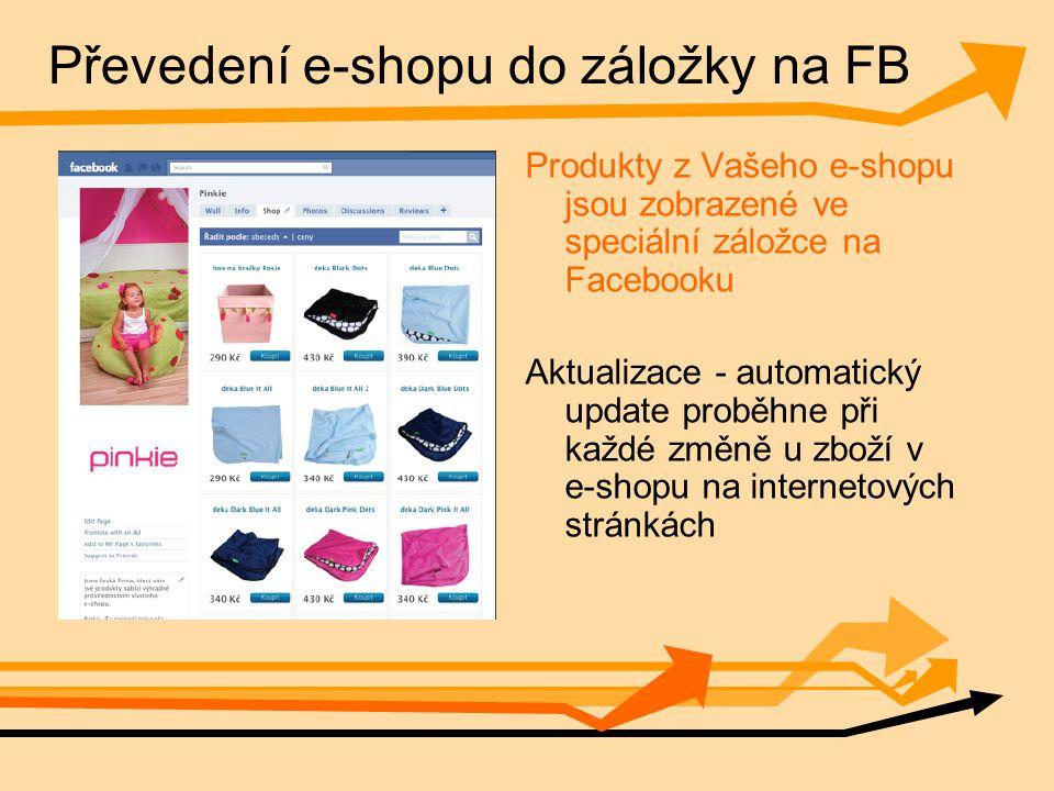 Převedení e-shopu do záložky na FB Produkty z Vašeho e-shopu jsou zobrazené ve speciální záložce na Facebooku Aktualizace - automatický update proběhne při každé změně u zboží v e-shopu na internetových stránkách