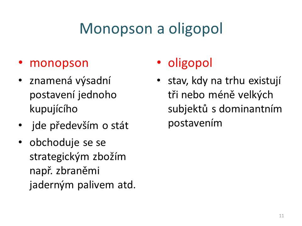 Monopson a oligopol monopson znamená výsadní postavení jednoho kupujícího jde především o stát obchoduje se se strategickým zbožím např.