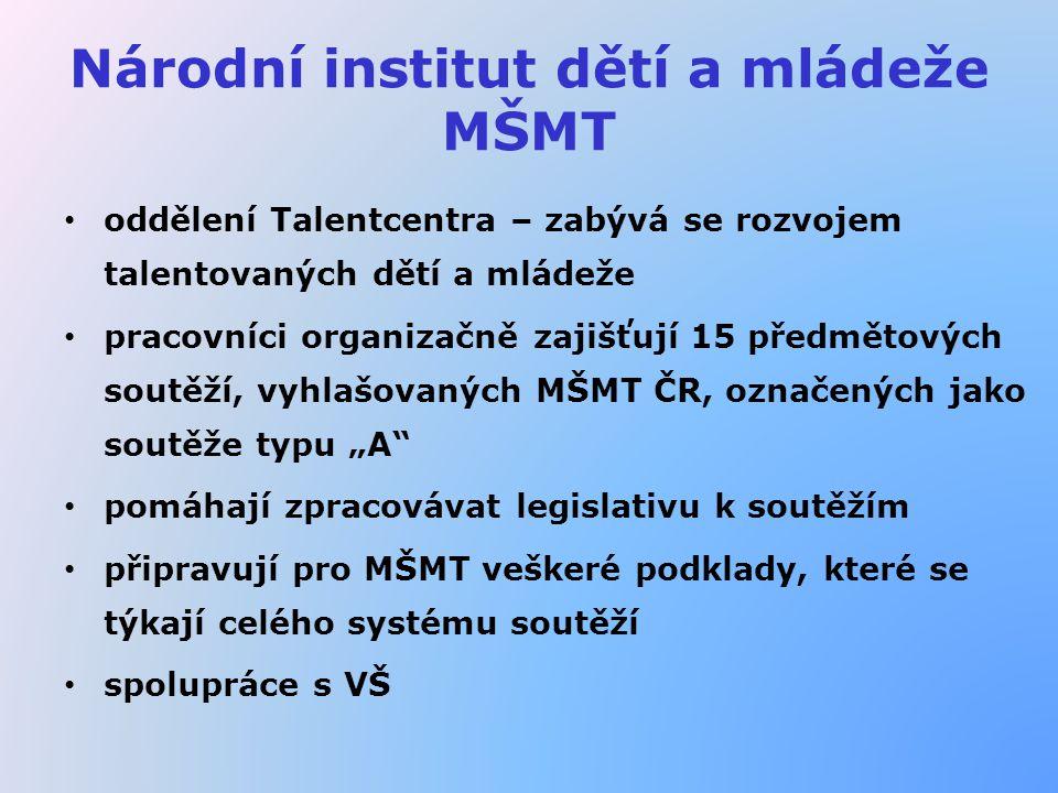 """Národní institut dětí a mládeže MŠMT oddělení Talentcentra – zabývá se rozvojem talentovaných dětí a mládeže pracovníci organizačně zajišťují 15 předmětových soutěží, vyhlašovaných MŠMT ČR, označených jako soutěže typu """"A pomáhají zpracovávat legislativu k soutěžím připravují pro MŠMT veškeré podklady, které se týkají celého systému soutěží spolupráce s VŠ"""