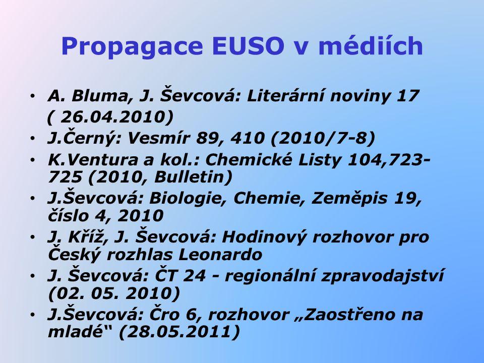 Propagace EUSO v médiích A. Bluma, J. Ševcová: Literární noviny 17 ( 26.04.2010) J.Černý: Vesmír 89, 410 (2010/7-8) K.Ventura a kol.: Chemické Listy 1
